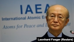International Atomic Energy Agency (IAEA) Director General Yukiya Amano addresses a news conference during a board of governors meeting at the IAEA headquarters in Vienna, March 4, 2019