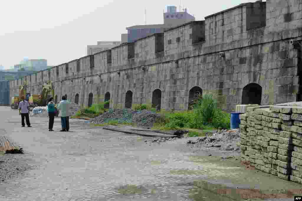 A restored section of a damaged wall in the Intramuros fortress in the Philippine capital, Manila