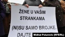 Sa jednog od protesta za bolji položaj žena u strankama u BiH