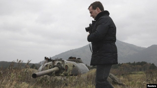 Then-Russian President Dmitry Medvedev during a visit to Kunashiri Island, one of four islands known as the Southern Kuriles in November 2010