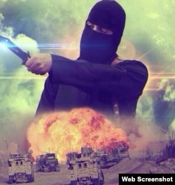"The Islamic State militant dubbed ""Jihadi John"" as seen in image from ""Pobeda ot Allaha"" (Victory from Allah) website"