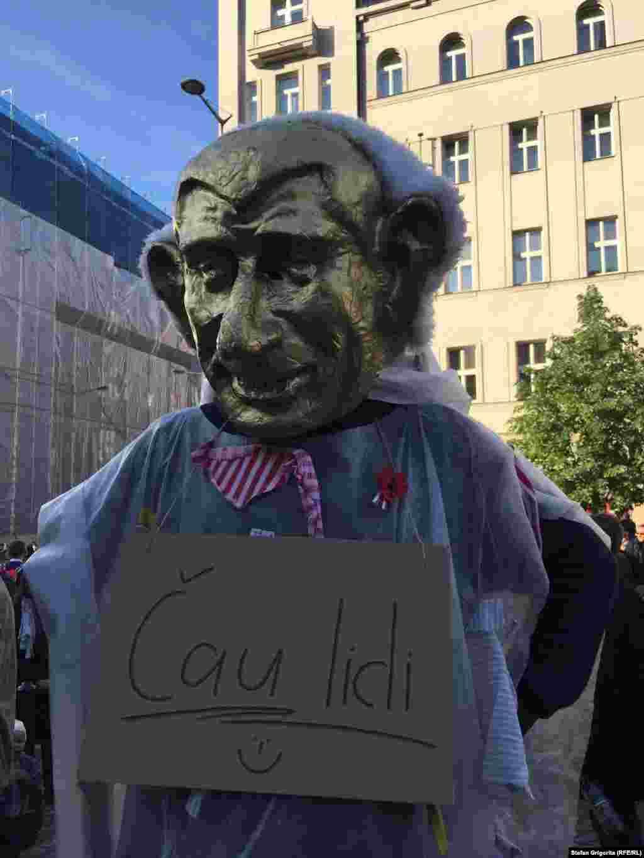 "Un protestatar în costum ""Golden Babis"""