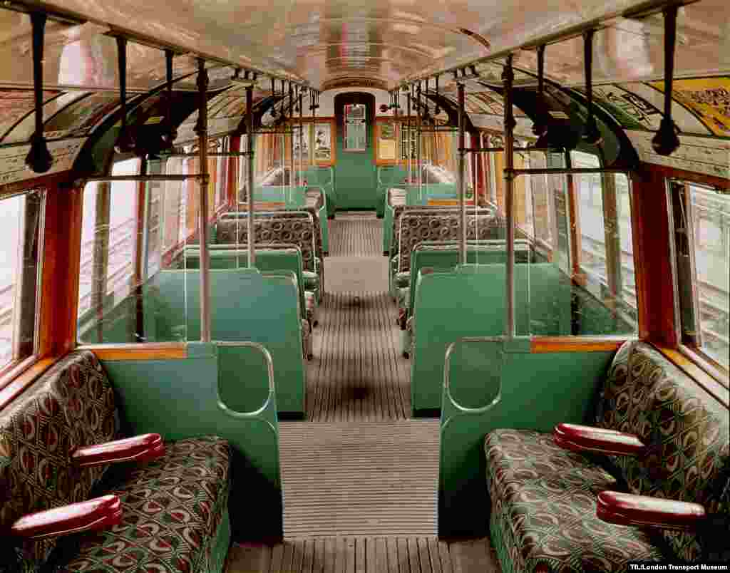 The restored interior of a 1938 carriage
