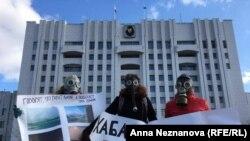 Пикет у здания правительства Хабаровского края