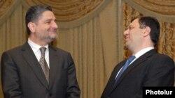 Armenia -- Prime Minister Tigran Sarkisian (L) and Trade and Economic Development Minister Nerses Yeritsian, undated.