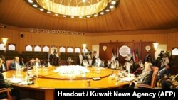 A handout picture released by the official Kuwait News Agency (KUNA) on April 21, 2016, shows a general view of the various delegations taking part in U.N. brokered Yemen peace talks, in Kuwait city. UN-brokered peace talks.