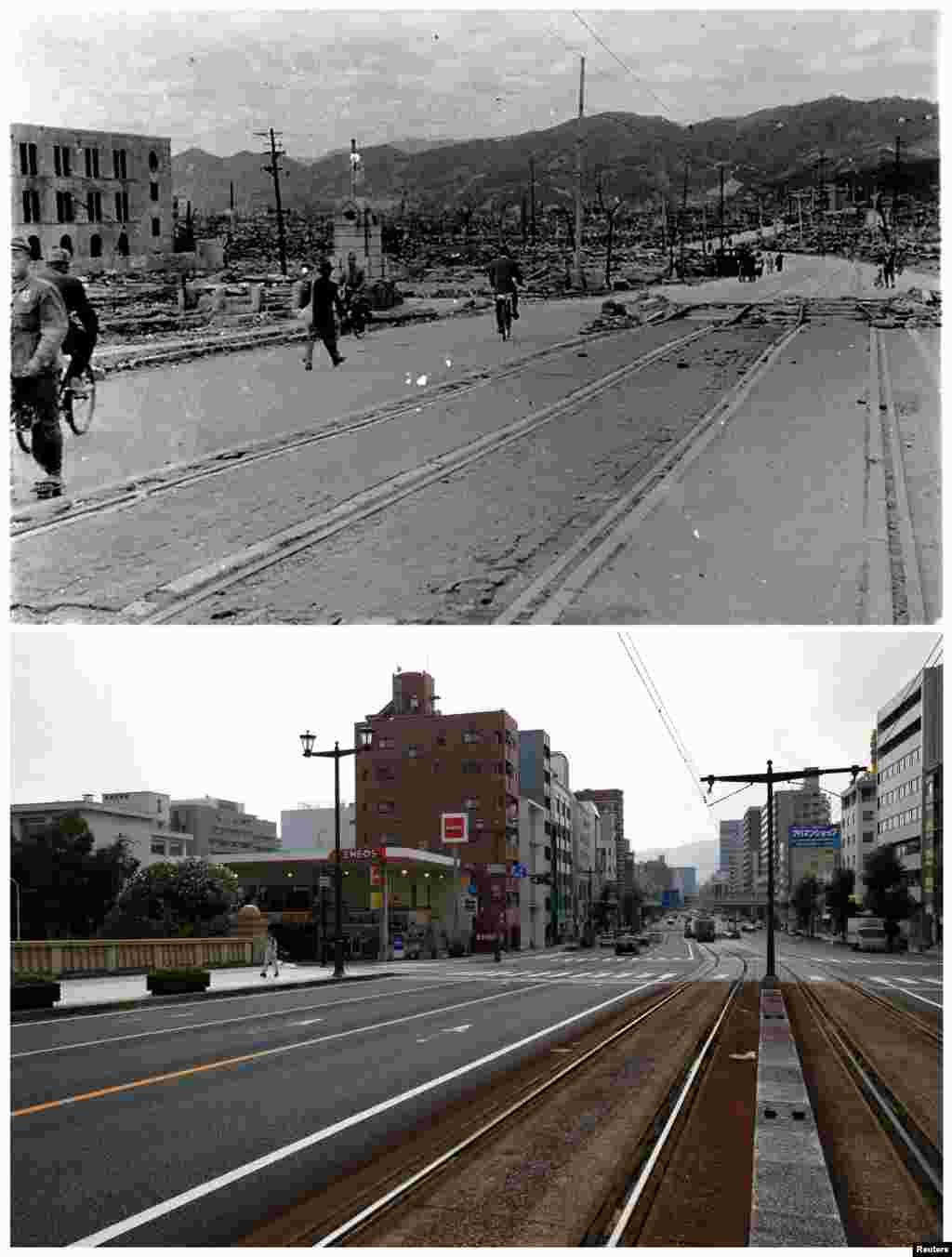 هیروشیما پس از فرو افتادن بمب و امروز