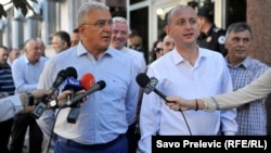 Lideri opozicionog Demokratskog Fronta Andrija Mandić i Milan Knežević