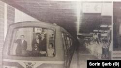 Nicolae Ceaușescu pe noua magistrală a metroului (Scânteia, 18 august)