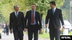 Andrija Mandić, SNS, Srđan Milić, SNP i Nebojša Medojević, PzP, Foto: Savo Prelević