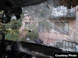 """Машина Гасанова после того, как с ней """"поработали"""" неизвестные"""