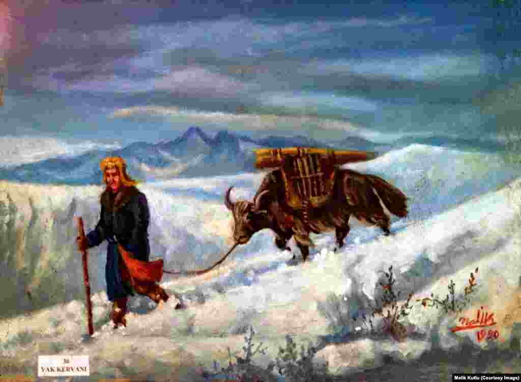 A painting by Malik Kutlu shows a nomad with a yak in Afghanistan's Pamir Mountains. A small Kyrgyz community remained in Afghanistan after most others emigrated in 1978. They live with virtually no infrastructure, schools, or health care in the remote Wakhan district, which borders China.
