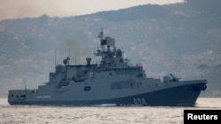 The Russian Navy's frigate Admiral Grigorovich sailing through the Bosphorus Strait last year.