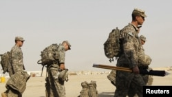 U.S. soldiers prepare to pull out of Iraq at Tallil Air Base near Nassiriyah in August 2010.