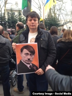 Андрей Сидельников на лондонской акции протеста против российской агрессии на Украине