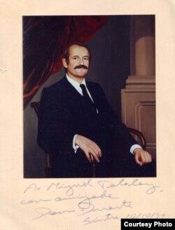 Дон Дуарте, портрет работы Ильи Глазунова. Дарственная надпись Его Высочества Михаилу Талалаю, 1991