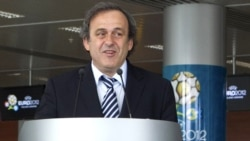 UEFA President Michel Platini takes part in a ceremony to open a new terminal of Lviv International Airport on April 12.