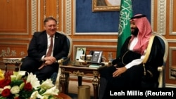 U.S. Secretary of State Mike Pompeo (left) meets with Saudi Crown Prince Muhammad bin Salman in Riyadh on October 16.