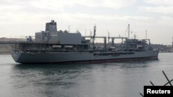 One of two Iranian naval ships that returned from Syria via the Suez Canal on February 21.