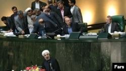 حسن روحانی، رئیس جمهور ایران در مجلس شورای اسلامی