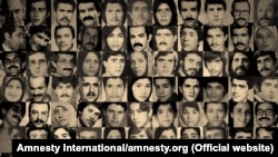 Combo picture of dozens of victims of Iran's mass executions on 1988.