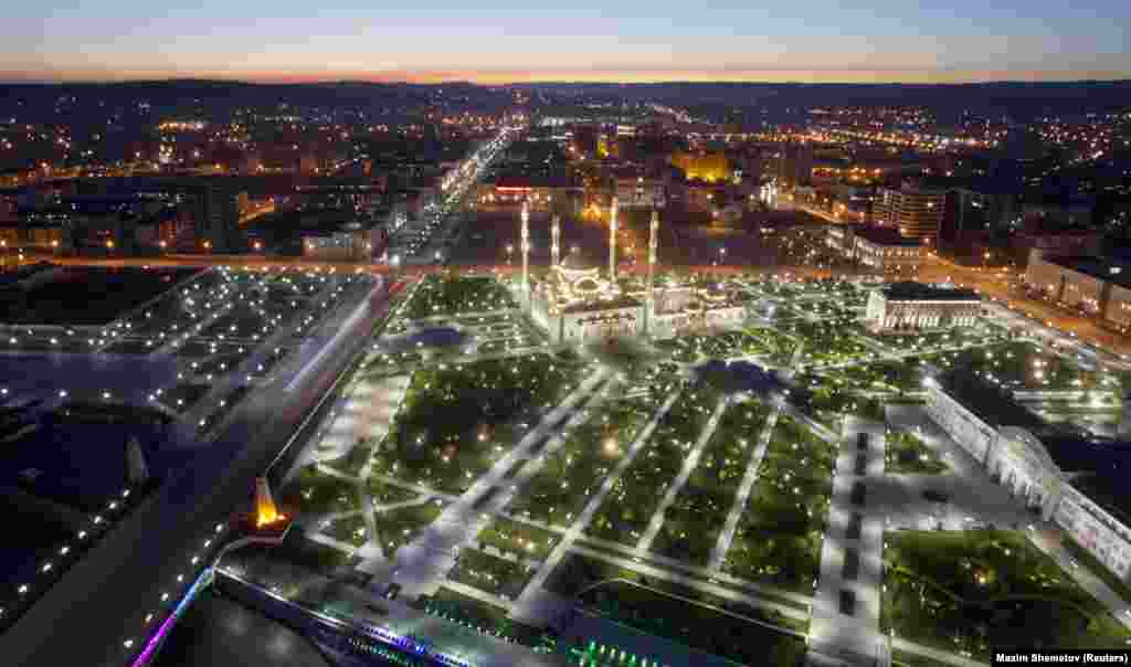 An aerial view of Grozny's rebuilt downtown