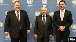 Архивска фотографија-средба на министрите за надворешни работи на Македонија и на Грција со посредникот Метју Нимиц