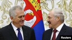 Таміслаў Нікаліч і Аляксандар Лукашэнка падчас сустрэчы ў Менску