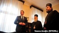 Predsjednik Srbije Aleksandar Vučić sa patrijarhom SPC Irinejom