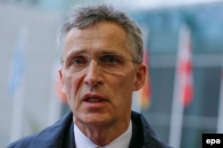 NATO Secretary-General Jens Stoltenberg spoke to the media in Luxembourg on April 19.
