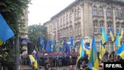 Протест львівських опозиційних сил проти візиту Віктора Януковича до Львова