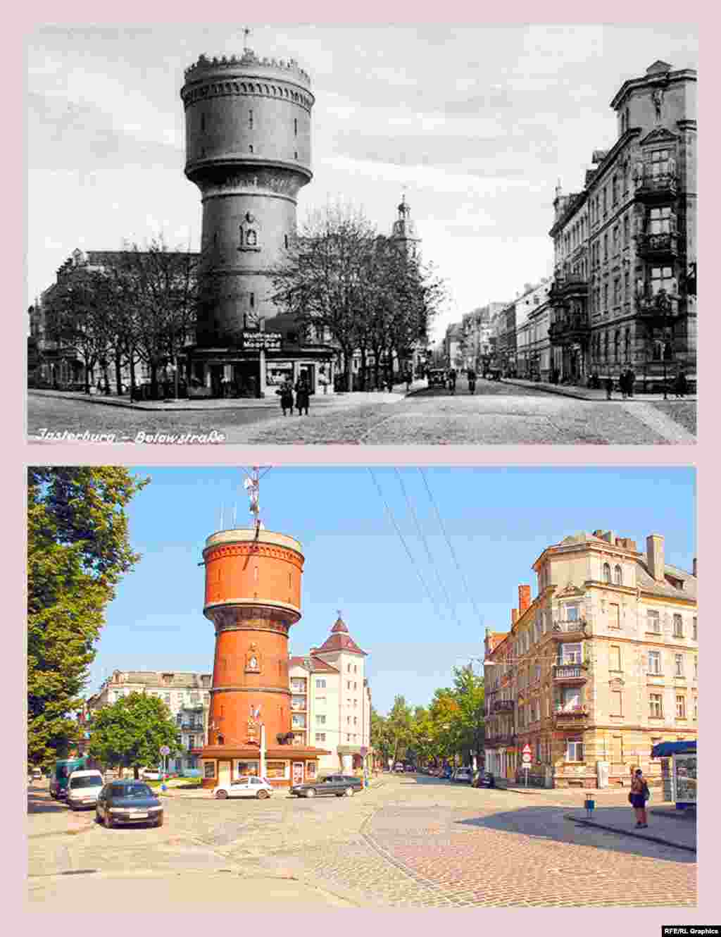 Chernyakhovsk (formerly Insterburg), corner of Sportivnaya and Gagarina streets (formerly Belov Strasse and Kazernen Strasse) The water tower was built in 1898 using the advanced design of Otto Intse's water reservoir system. During the Russian occupation of Insterburg between August and September 1914, Russian engineers, trying to restart the disrupted water supply, caused an explosion instead. After the reconstruction, the town's water system was restored, but the tower hasn't been used as intended since the end of 1930s. Today the city TV and radio stations are housed inside it.