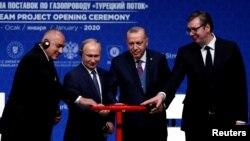 Премиерът Бойко Борисов, президентът на Русия Владимир Путин, на Турция - Реджеп Ердоган и на Сърбия - Александър Вучич