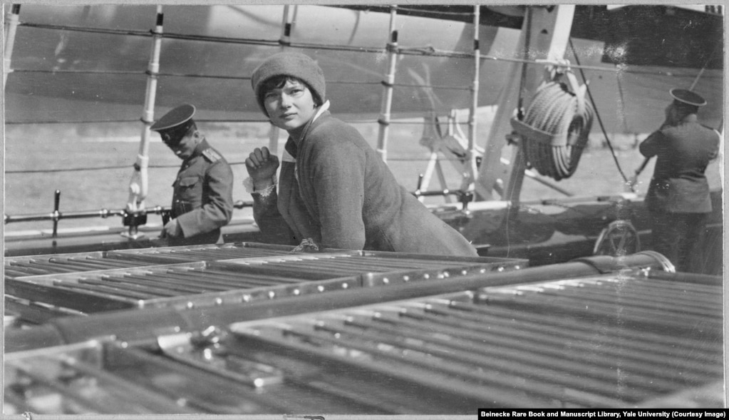 "Tatyana Romanov aboard the Standart. Tatyana was described by an associate as a ""poetical creature, always yearning for the ideal, and dreaming of great friendships which might be hers."""