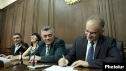 Armenia - The parliamentary leaders of the four main opposition parties release a joint declaration listing 12 demands to the government, Yerevan, 10Jun2014.