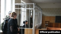 Fatima Margieva in a Tskhinvali courtroom in March