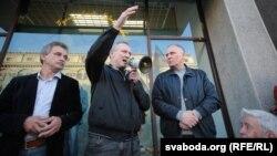Анатоль Лябедзька, Уладзімер Някляеў, Мікалай Статкевіч на пікеце 10 верасьня