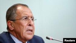 Sergej Lavrov tokom konferencije za novinare o Siriji, 26. avgust 2013.