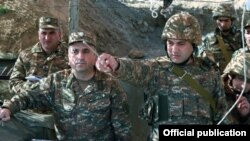 Nagorno Karabakh - Karen Abrahamian (L), the Karabakh army commander, inspects frontline troops, November 6, 2019.