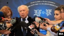 UN special envoy Matthew Nimetz speaks to the press in Skopje on July 3.