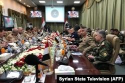 Одно из совместных совещаний офицеров ВС Сирии, России и Ирана в Дамаске. 2019 год
