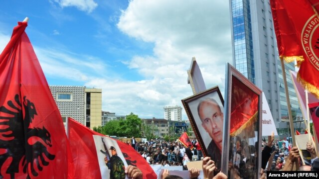 More than 5,000 Kosovar Albanians protested in Pristina.