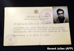 War photographer Robert Capa's press card, issued in Barcelona in 1939