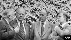 Prim ministrul britanic Harold Wilson, președintele Statelor Unite Gerald Ford, președintele Franței Valery Giscard d'Estaing și cancelarul Germaniei Helmut Schmidt la Helsinki, 8 August 1975