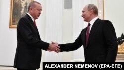 Ռուսաստանի նախագահ Վլադիմիր Պուտինը Կրեմլում ընդունում է Թուրքիայի նախագահ Ռեջեփ Էրդողանին, Մոսկվա, 23-ը հունվարի, 2019թ․
