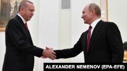 Түркия президенті Режеп Тайып Ердоған мен Ресей президенті Владимир Путин. Мәскеу, 23 қаңтар 2019 жыл.