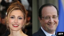 Francë - Kombinim i fotografive të aktores Julie Gayet dhe presidentit të Francës Francois Hollande