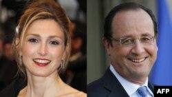 Франция президенті Франсуа Олланд пен актриса Жюли Гайе.