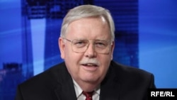 John Tefft during the interview for RFERL and VoA