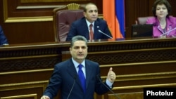 Armenia - Prime Minister Tigran Sarkisian addresses the National Assembly, Yerevan, 23May2013.